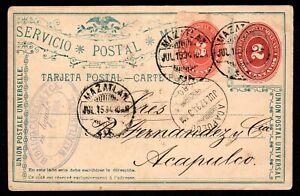 Mexico 1894 postcard Mazatlan to Acapulco - nice cds