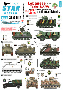 Star Decals 1/35 Lebanese Tanks & AFVs #6: FURTHER MORE Unit Markings 35C1113 x