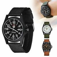 Men's Sport Quartz Date Nylon Strap Army Military Wrist Watches Canvas Band