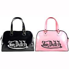 Von Dutch Glossy Faux Leather Bowling Bag Purse With Shoulder Strap