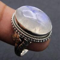 Boho 925 Silver Natural Rainbow Moonstone Wedding Engageme Ring Size 6-10