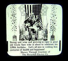 Magic Lantern Slide Uncle Sam Patriotic 4th of July 1915 Flag Fireworks Eagles