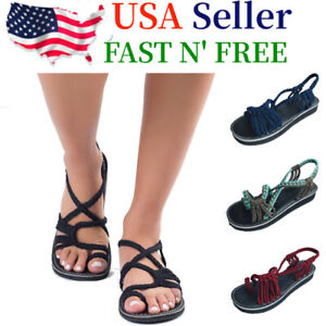 Bohemian Flat Flip Flops Bandages Beach Shoes Summer Casual Sandals Womens US