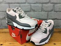 NIKE UK 11 EU 28.5 AIR MAX 90 GREY PINK LEATHER TRAINERS CHILDRENS LG