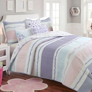 Lavender Light Pink Blue Ruffle Girl Cotton Quilt Set, Bedspread, Coverlet