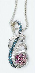Signed JST 10K White Gold Adjustable Necklace 1/cttw Pink Blue & White Diamonds