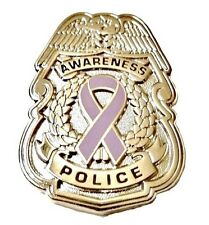 Esophageal Cancer Lapel Pin Awareness Silver Police Badge Periwinkle Ribbon New