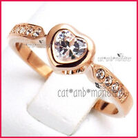 18K ROSE GOLD GF LADIES GIRLS SOLID 1CT WEDDING ETERNITY HEART CRYSTAL BAND RING