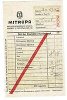 Mitropa Vagone Ristorante Quittung (AGK990)