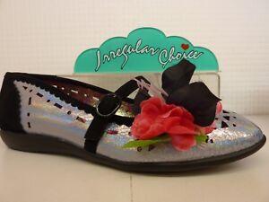 Irregular Choice Pulchra Black Silver Glitter Flower Buckle Strap Ladies Shoe