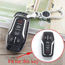 Carbon Fiber Smart Key Case Cover Holder Chain Ring For Ford Lincoln Accessories