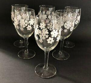 Set of 6 Winter Wine Glasses White Snowflakes Christmas Holiday Optic Stemware