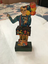 RARE KELLERMAN GERMAN TIN LITHO WIND UP BALLOON MAN WITH MICKEY MOUSE IN BAG