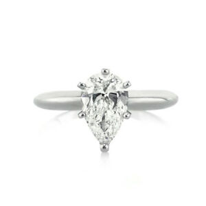 1.00 Ct Diamond Engagement Wedding Ring 14K Solid White Gold Rings Pear Size 6