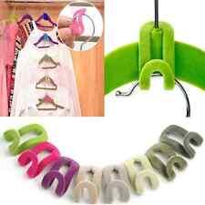 10pcs Save Space Creative Mini Flocking Clothes Hanger Hook Closet Organizer