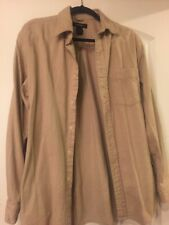 Express Men's  Fitted Button Down Tan 100%cotton Feels Like FlannEl M