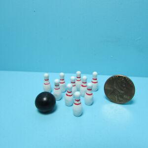 Dollhouse Miniature Sports Bowling Ball with Pins Set MA1094