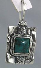 EARRINGS  Ladies 925 Sterling Silver - Turquoise Square  ( by Shablool )