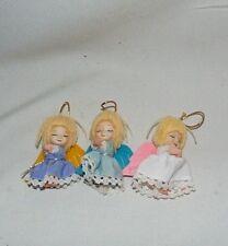 Angel Ornaments Vintage Yarn Hair Plastic Felted