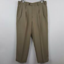Jack Nicklaus Polyester Light Brown Pleated Cuffed Men's Dress Pants Sz 33 x 27