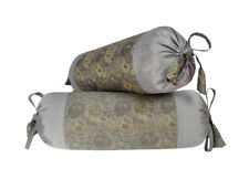 Grey Color Flower Art Bolster Cushion Brocade Pillow Cover Throw Round Cylinder