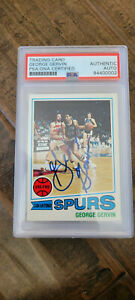 1977-78 TOPPS SIGNED CARD GEORGE ICEMAN GERVIN SPURS SQUIRES BULLS ABA PSA # 73