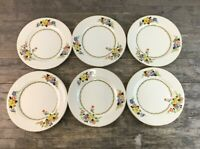 Six Royal Staffordshire Wilkinson Ltd Art Deco Floral Design 26cm Dinner Plates.