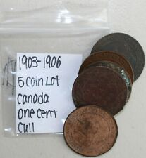 5 Coin Lot 1903-1906 Canada Large Cent Cull Coins Damaged 1c Canadian Coins K41
