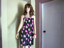 New Beach Tropical Dress Stretch - strapless shirred top Floral Print Size L 011