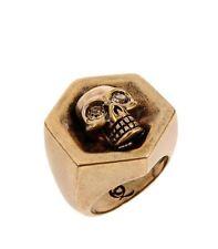 Alexander McQueen Brass Tone Hexagonal Skull Ring Size 13
