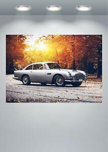 Aston Martin Classic DB5 Sports Car Poster Art Print in multiple sizes