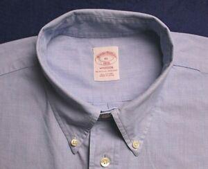 "BROOKS BROTHERS classic light blue ""Madison"" NO IRON cotton casual shirt size XL"