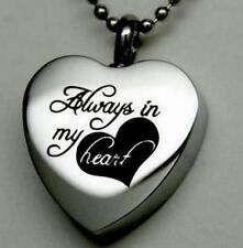 ALWAYS IN MY HEART Cremation Jewelry Silver Urn Necklace Memorial Keepsake  ^