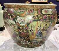Very Large Chinese Rose Medallion Pottery Fish Bowl Planter ceramic