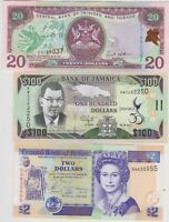 SIX DIFFERENT CARIBBEAN BANKNOTES 1990 TO 2012 IN A CRISP MINT CONDITION.