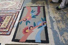 "Primitive Vintage American Hand Made Wool Hooked Rug 54"" x 32"" Art Deco 2'9x4'6"