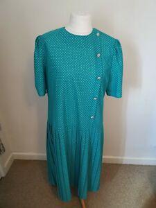 Vintage 1980s Size 18 Turquoise Blue White Polka Dot Pleated Midi Tea Dress
