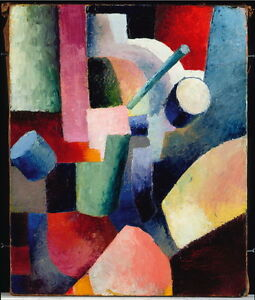 August Macke Colored Composition of Forms Giclee Canvas Print Paintings Poster R