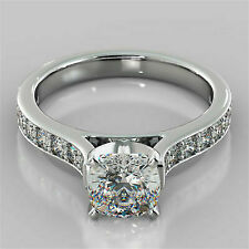 2.50 Ct D/vvs1 Cushion Cut 14k White Gold Cathedral Engagement Ring