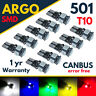 T10 CAR LED 501 SIDE LIGHT BULBS ERROR FREE CANBUS 5 SMD XENON WHITE W5W BULB
