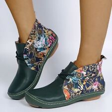 US10.5 Womens Floral Ankle Western Boots Round Toe Flat Moccasin Oxfords Shoes