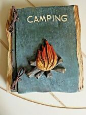 """Handcrafted Wood Carving Photo Album """"Camping"""" Bonfire Gift"""