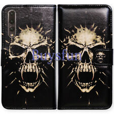Bcov Black Fangs Skull Style Leather Wallet Cover Case For Huawei P20 Pro