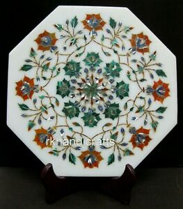 10 x 10 Inches Marble Tea Pot Stand Handcrafted Stone Inlay Plate Gift for Decor
