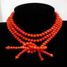 Handmade Orange Rondelle Glass Crystal Beads Open Adjustable Long Necklace Women