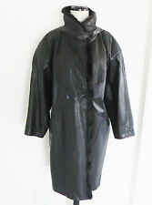 Vtg Black Leather Coat  Mink Collar Size XL  Japan Full lined Double Breasted