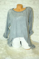 Italy New Collection T-Shirt Long puder grau Vintage Gr.36 38 40 42 blog Tunika