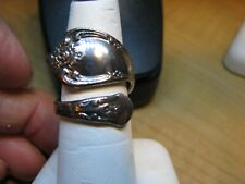 ROGER SPOON RING SILVER TONE ADJUSTABLE FROM SIZE 7 -8
