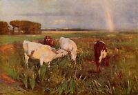 ARNESBY BROWN 1902 Oil Painting THE RIVER BANK 1930 Vintage Art Cows Book Print