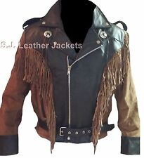 Men's Western Cowboy Biker Cow & Suede Leather Jacket - Fringes on Front & Back
